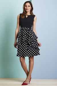 Keyhole Neck Tiered Skirt Dress - Misses