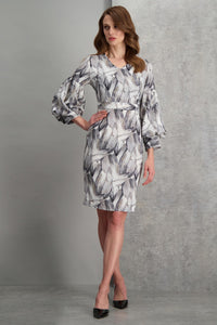 Printed Puffy Sleeve Dress - Misses