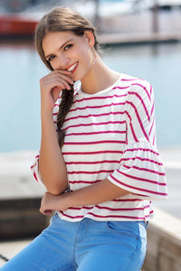 3/4 Ruffle Sleeve Knit Top - Misses