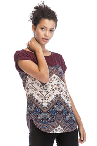 Mixed Media Knit Top - Misses