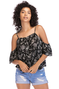 Misses M Bls Paisly Cold Shoulder Blouse