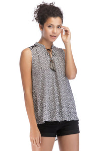 Misses M Bls High/Low Sleeveless Tie Neck Blouse
