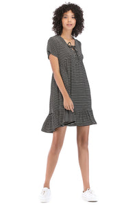 Misses M Drs Tie Neck Knit Dress