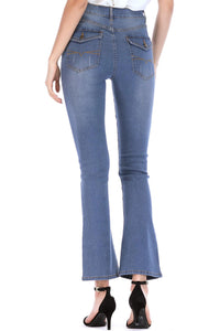 Denim High Waisted Distressed Bootcut Ankle Jean - Misses