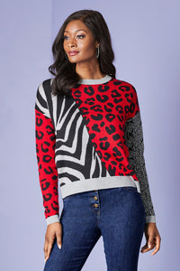 Mixed Animal Print Sweater - Plus