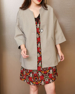 Cropped Sleeve Pocket Coat