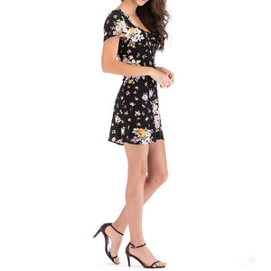 Floral Printed U-Neck Dress