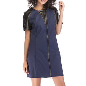 Zipper Short Sleeve Dress