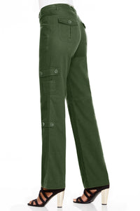 Stretch Cargo Pants in Olive - Missy
