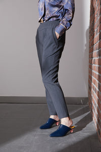 Grey Casual Rubber Waist Pants