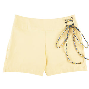 Woven Yellow Side Drawstring Shorts
