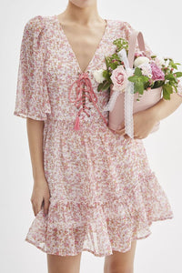 V-Neck Ruffle Sleeve Floral Printed Drawstring Dress