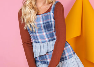 Sleeveless Plaid Ruffled Dress