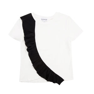 Black Ruffled White T-Shirt