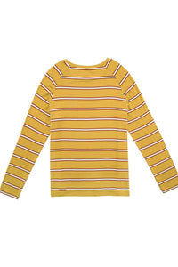 Casual Yellow Stripe Long Sleeve T-Shirt