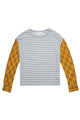 Grey Stripe Yellow Plain Sleeves Pullover Top