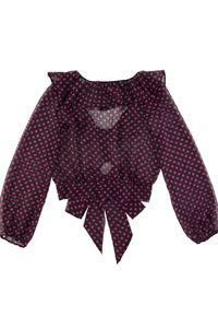 V-Neck Ruffled Dot Print Top