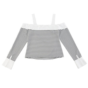 Striped Off-Shoulder Long Sleeve Contrast Shirts