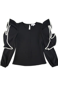 Black Ruffled Long Puff Sleeves Top