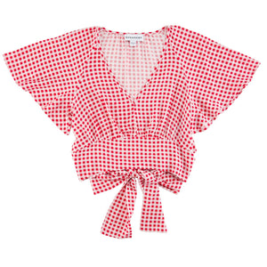 V-Neck Red Plaid Woven Top
