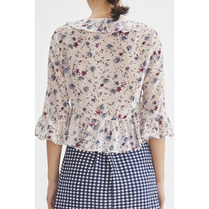 V-Neck Ruffled Floral Printed Woven Top