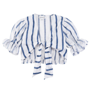 Blue Stripe Ruffled Knot Woven Shirt