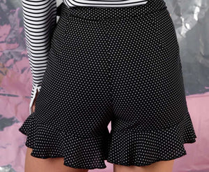 Culotte Skirt Dot Ruffled Drawstring Casual Shorts