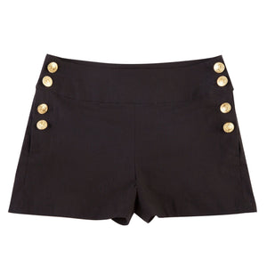 Solid Button Casual Shorts