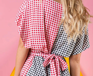 Plaid V-Neck Belt Short Jumpsuit