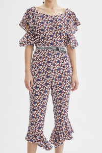 Floral Printed Puff Sleeves Ruffled Jumpsuit