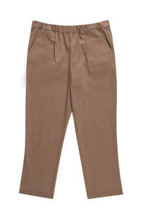 Brown Casual Pocket Rubber Waist Pants