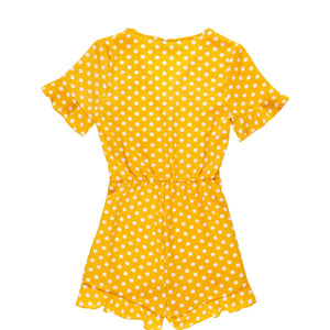 Yellow Dot Short Ruffle Jumpsuit