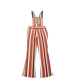 Red Stripe Overall Maxi Jumpsuit