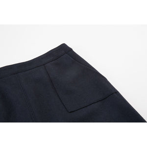 Casual Zipper Wool Skirt