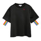 Casual Black Rainbow Tape Midi Sleeve Shirt