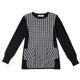 Round Neck Black and White Plaid Sweater