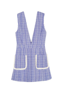 Blue Plaid V-Neck Pocket Dress