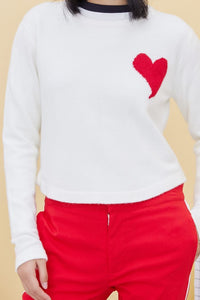 Red Heart Shape Embroidery Pullover Sweater