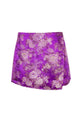 Purple Floral Printed Culotte Skirt Casual Shorts