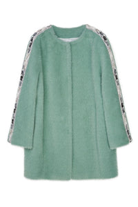 Green Faux Fur Beaded Coat