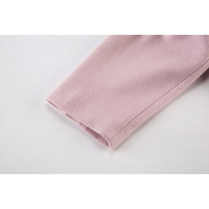 Pink Long Sleeve Pocket Scarf Coat
