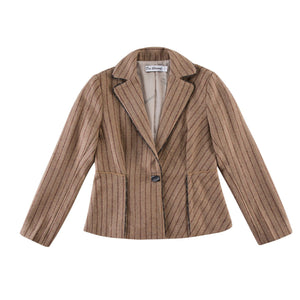 Stripe Lapel Elegant Cropped Coat