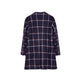 Navy Plaid Elegant Coat