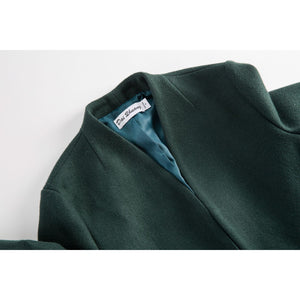 Green Pocket Belt Coat