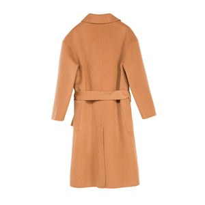Lapel Collar Lacing Midi Wool Coat
