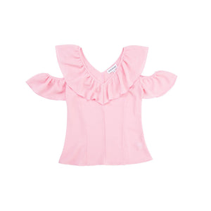 V-Neck Ruffled Sleeves Top