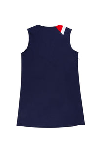 Navy V-Neck Sleeveless Dress