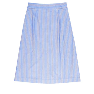 Blue Stripe Pocket Midi Skirt