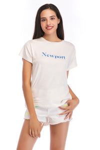 Ladies Knit White Newport Top