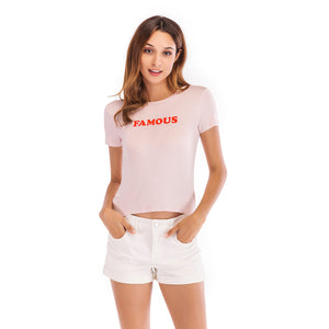 Ladies Knit Short Sleeve Famous Tee